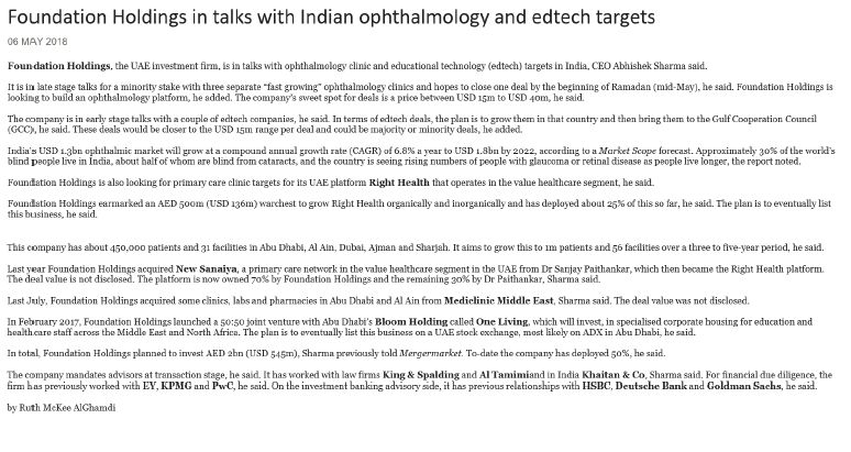 06.05.2018 Foundation Holdings in talks with Indian ophthalmology and edtech targets